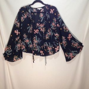 NWOT Copper Key Flowy Open Necked Blouse